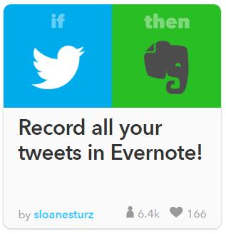 Twitter llamando a Evernote