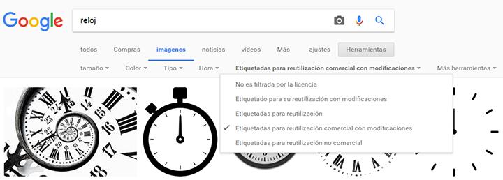 Ajusta los derechos de uso de Imágenes Google